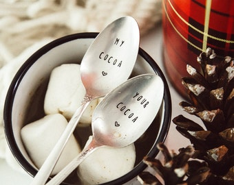 My Cocoa, Your Cocoa - Hand Stamped Vintage Spoon Set for Lovers