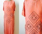 Vintage 1920s beaded flapper silk dress Coral pink color Art Deco design
