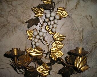 Fabulous Vintage Italian Florentine Tole Gold Gilt Wall Art Candelabra/Candle Holder/Sconce w/Grapes Paris Apartment decor