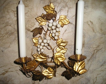 Fabulous Vintage Italian Florentine Tole Gold Gilt Wall Art Candelabra/Candle Holder/Sconce w/Grapes Holiday Decor