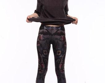 Printed Leggings   Cross Stitch Embroidery Print Tights   Grey Gray Black Taupe Burgundy Dark Yoga Running
