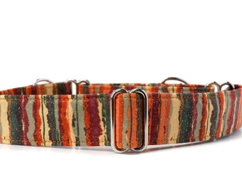 Martingale Dog Collar,,, Autumn Stripe,,orange, rust and olive stripe Martingale Dog Collar in 1.5 inch or 2 inch width