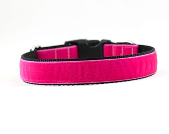 """Pink Velvet Dog Collar, Velvet Dog Collar, Pink Dog Collar, 1"""" Wide, Buckle Collar or Martingale"""