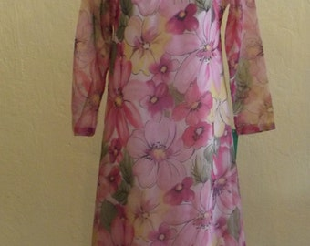 1960s Long Sleeve Sears Home Entertaining Dress, Floral, S/M  #31846