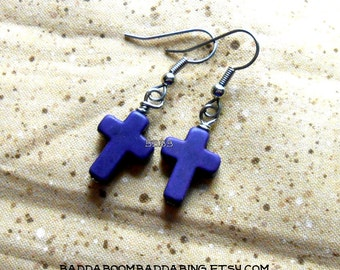 Purple Cross Earrings - Surgical Steel French Hooks