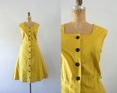 RESERVED | 1940s Brickstone Way mustard cotton dress / 40s deadstock