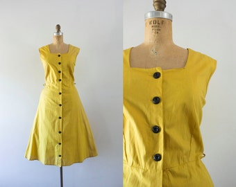 1940s Brickstone Way mustard cotton dress / 40s deadstock