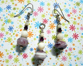 Purple and White Pendant and Earrings (0644)