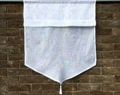 French Linen Window Curtain, Sheer White Kitchen Cafe Curtain, French Style