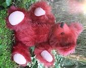 Rufus OOAK Handmade Miniature Mohair Teddy Bear - Hand-Dyed Fur