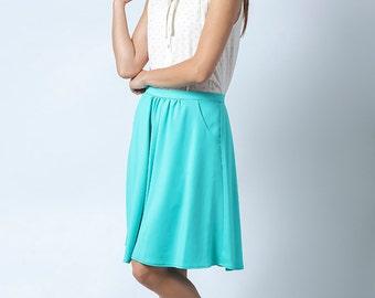SALE, Short skirt, turquoise skirt, Womens skirt, High waist skirt, A line skirt, Classic skirt, Short skirt, Casual skirt, full skirt