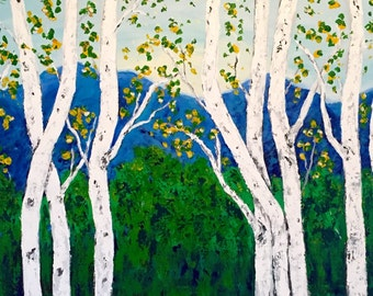 Birch  Aspen Trees Mountains Acrylic Commission Painting Large Extra Large 48 w x 24 h x 1.25 painting gallery wrapped canvas shios free 7-1