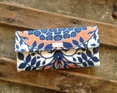 Handmade Wallet Orange and Blue - Womens Wallet - Vegan Wallet With Zipper Pocket, Ready to ship