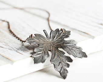 Black Maple Leaf Necklace - Rusty Black Leaf Pendant Necklace with Antiqued Copper Plated Chain, Rustic Autumn Necklace, Fall Accessory