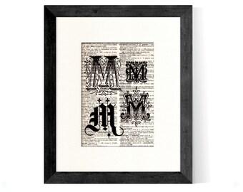 Letter M Monogrammed Intitial Art Print - Gift Home Office Decor