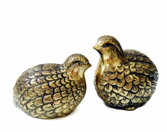 Vintage Brass Bird Figurines Pair of Brass Quail Partridge Collectible Brass Animal Retro Decor