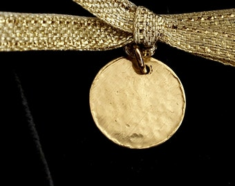 18K Gold Disc Pendant, Gold Tag, Personalized Jewelry, Initial Tag, Gold Jewelry, Handmade, Mother Day Gift, Stamped Tag, Venexia Jewelry