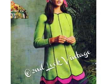 Vintage Knitting Pattern 1960s Mod Mini Sweater Dress Scalloped Hem Digital Download PDF