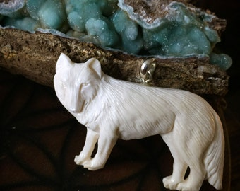 Wolf Energy- Large Wolf Carved Bone Pendant