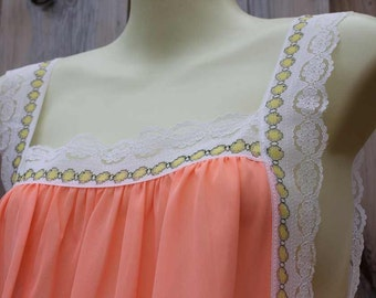 Peach and yellow sexy nightgown 1960's lingerie open side tie lace long lovely patterned trim lightweight comfortable soft pretty size S-M