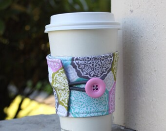 Coffee Cozy - Olive, Pink, Aqua and Grey Medallions - Adjustable Button Cup Wrap for Hot and Cold Cups - Hot Drink Protector - CK Stitches