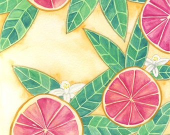 Grapefruit Art - Citrus Art - Tropical Art - Kitchen Art - Fruit Art - Tropical Decor - Kitchen Wall Art - Grapefruit Decor - Fruit Decor