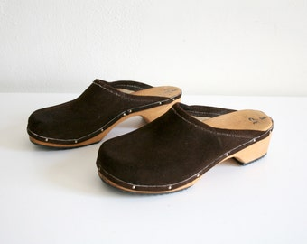 Brown Suede Leather Clogs 37
