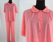Vintage Sixties Pajama Set - 1960s Bright Pink Pajamas - 60s Henson Knickernick Set - Large Vintage Pajamas