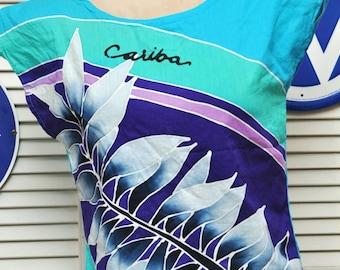 Vintage Womens 80's Tropical Shirt/Bahama's Souvenir/1980 80s Eighties/Shoulder Pads/Hand Batik/Cariba/Medium Small/Cotton/Blue Green Purple