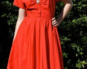 S, M swing dress, 70s does 50s, ruched bodice
