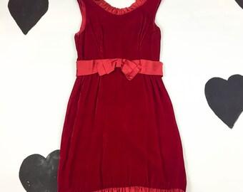 60's blood red velvet mini dress 1960's dolly satin ruffled bow babydoll dress / Holiday / Party Dress / Sleeveless / Twiggy / Mod /