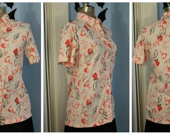 Vintage Womens 70s Abstract Floral Short Sleeve Button Up Shirt by Calvin Charles Polyester Top Retro Small Medium