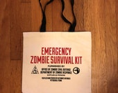 Tote bag canvas, Zombie, Tote bag, Canvas Tote, Zombies, Zombie Survival Kit, Alternate Histories, Geekery, Sci-Fi, Horror, Screenprint