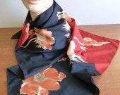 "70s Vera Scarf - Black Red Gold Orange Flowers - Designer Vera Neumann - Vintage 1970s - 27"" square"