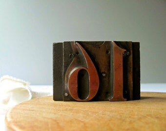 Vintage Letterpress Number 16 Printers Block Sixteen Sweet 16 Stamp Block Teen Birthday Copper Wood Printing Block Never Been Kissed at 16