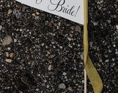 Gold & Black Here Comes The Bride Wedding Sign {In Stock} Small Pennant Flag | Wood Heavy Paper Glitter Gold Metallic Ribbon Classic Script