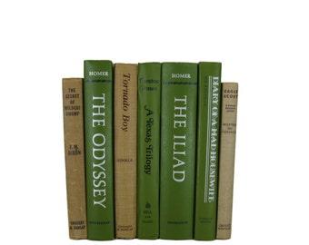Green  Tan  Decorative Books , Red Vintage Books ,  Home Decor , Old Books , Vintage Photo Props , Table Setting , Wedding Decor