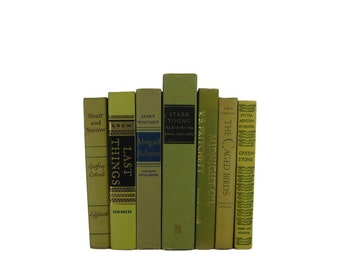 Green  Books , Old Green Books , Decorative Books  , Gift idea for Book Lover , Wedding Centerpiece ,   Vintage Books , Gift for Her