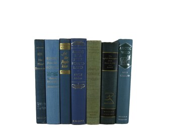 Blue Books Home Decor,  Blue Green Vintage Books, Old Books,  Book Set, Vintage Wedding Decor,  Book Lover Gift,  Book Stack,  Collection