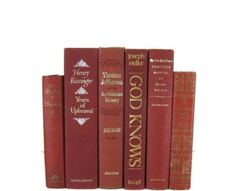 Burgundy Maroon Decorative Books , Old  Book , Decorative Book Set , Photo Prop ,  Wedding Book Decor , Book Lover Set , Home Decor