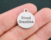 Grandma Stainless Steel Charm - Proud Grandma - Exclusive Line - Quantity Options  - BFS332