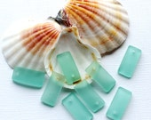 2 Sea Glass Beads Cultured Concave Aqua Rectangle Shape with Drilled Hole - U73
