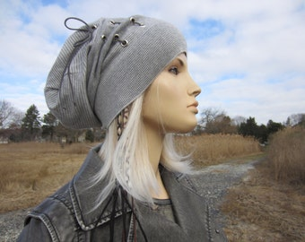 Bohemian Clothing Women's Slouch Tams Striped Slouchy Beanies Light Gray Stripe Cashmere Cotton Knit Hat Leather Corset Lace Tie A1843 C