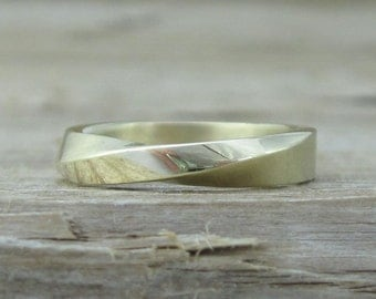 Mobius Wedding Ring, 4mm Mobius Wedding Band, Modern Mobius Strip Ring, Gold Infinity Ring, Gold Mobius Wedding Band, Gold Wedding Band