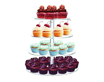 "4 Tier Clear Acrylic Round Cupcake Stand Wedding Birthday Cake Display Tower 1/4"" thick Commercial Grade"