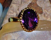 The Oracle's Violet Flame - HUGE Vintage Antique African Amethyst & Sterling Silver Ring - Clairvoyance, Tranquility, Psychic Awareness