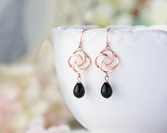 Black Pearl Earrings, Rose Gold Earrings, Rose Gold Jewelry, Rose Gold Bridal Earrings, Bridesmaid Gift, Valentines day gift for her
