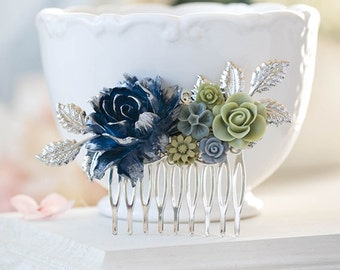 Navy Blue Gray Olive Sage Green Wedding Hair Comb Silver Bridal Hair Comb Vintage Style Romantic Country Rose Flower Leaf Collage Hair Comb