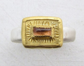 Pink Tourmaline Gold Ring - 24k Gold & Tormaline Ring - Statement Ring