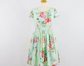 """Sale  Vintage inspired bridesmaid dress, Mint green dress with short sleeves, bust size 36""""  Sale"""